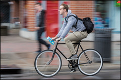 Milk Run on Bank Street (Dan Dewan) Tags: centretown october bicycle canon7dmarkii canonef70200mm14lisusm street canon fall colour man ottawa  sunday panning motion portrait photographist ontario cyclist glasses male bankstreet 2016