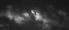 crescent moon (ismaley.viana) Tags: sky moon night clouds blackwhite grain crescent