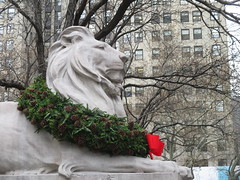Library Lion Christmas Wreath and red bow 42nd St 5th Ave 2014 NYC 1814 (Brechtbug) Tags: christmas street new york xmas city nyc winter red urban sculpture holiday art public animal statue pine stairs last facade holidays looking natural library year over steps decoration lion fake books front literature gargoyle wreath ornament bow lions avenue decor 5th better improvement cones 42nd vast 2014 fakey 12022014