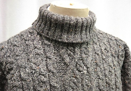 Irish Cable Fisherman 100 Pure Wool Sweater Mens Gray Turtleneck