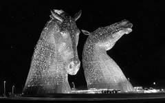 Kelpies with added 'stars'.jpg (Martin Sim) Tags: sculpture horse water night scotland spirits heads kelpies