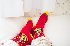 65/100 - Lazy Days (AndreaDrops) Tags: socks bed harrypotter gryffindor 100happydays
