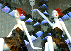 Window of a fashion store (chrisk8800) Tags: barcelona street city urban reflection window fashion reflections lumix photography store spain dummies decoration streetphotography catalonia panasonic g6 dummy fashionstore