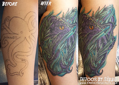Cover up Octopus (Rbbit) Tags: newmexico art tattoo albuquerque sealife octopus aquatic beforeandafter tattooart coverup colortattoo customtattoo coveruptattoo octopustattoo tattoofix embracethedemons 71tattoo tattoosbyrabbit