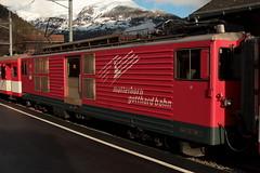 MGB Matterhorn Gotthard Bahn Gepäcktriebwagen Deh 4/4 II Nr. 91 ( Triebwagen - Baujahr 1979 ) mit Taufname Göschenen ( Ehemals FO Furka - Oberalp -  Bahn ) am Bahnhof ... im Kanton Wallis - Valais in der Schweiz (chrchr_75) Tags: chriguhurnibluemailch christoph hurni schweiz suisse switzerland svizzera suissa swiss chrchr chrchr75 chrigu chriguhurni 1412 dezember 2014 hurni141220 eisenbahn bahn train treno zug schweizer bahnen albumbahnenderschweiz albumbahnenderschweiz2014712 albummgbmatterhorngotthardbahn mgb juna zoug trainen tog tren поезд lokomotive паровоз locomotora lok lokomotiv locomotief locomotiva locomotive railway rautatie chemin de fer ferrovia 鉄道 spoorweg железнодорожный centralstation ferroviaria