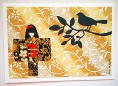 All-purpose handmade card 54 (tengds) Tags: flowers red black bird asian japanese gold branch card papercraft japanesepaper washi ningyo handmadecard chiyogami yuzenwashi japanesepaperdoll washidoll origamidoll kimonodoll asiancard tengds allpurposecard