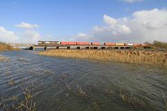 66712, Hundred Foot Washes (Julian Hodgson) Tags: trains locomotive railways fens freight floods felixstowe class66 gbrailfreight manea hundredfootwashes gbrf 66712 hamshall julianhodgson