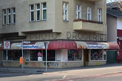 Photo Drogerie (Florian Hardwig) Tags: berlin storefront lettering drugstore tempelhof ghostsign lowwaistedletters tempelhoferdamm