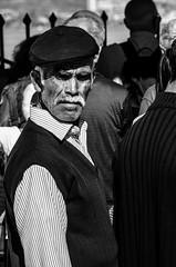 old man in istanbul (SarudiGyulaHubertus) Tags: old white man black hat waiting istanbul row line turkish beardmoustach