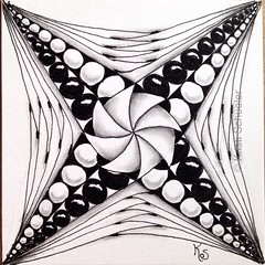 #zentangle 2015-061, Dee's photos of cathedral and mosque ceilings from her travels in Spain inspired the string for this tile. This was my first ever phicops and I did kind of a tangleation of pearls and yoga, then filled with some b'tweed. (kurki15) Tags: square drawing squareformat zia tangles zenart 365project zentangle meditativeart zendoodle iphoneography instagramapp uploaded:by=instagram zentangleinspiredart 365zentangles 2015zenmar dailytangles