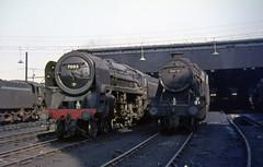 70013 + 48390+73053 Patricroft shed.  5 March 1967 (Brit 70013 fan) Tags: br shed railway depot british standard britannia mpd olivercromwell britishrailways 8f 26f class5 patricroft 70013 48390 73053