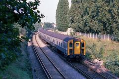 7307 passing Cheam (Bingley Hall) Tags: uk britain england transport train transportation rail railway railroad britishrail br blue southernregion electricmultipleunit electric emu 750v dc thirdrail cheam express 4cig class421