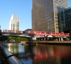 Train Over Water (TravellingMiles) Tags: city london district canarywharf financial