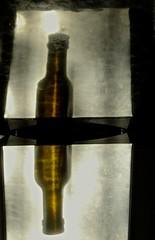 un reflet reflt (maggy le saux) Tags: reflection glass metal bottle reflet reflejo vero vidrio botella verre bouteille