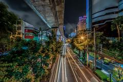 Skytrain Bangkok (mcalma68) Tags: skytrain night cityscape architecture traintrack street lighttrails longexposure hdr urban traffic