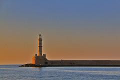 Great Sunset nearby the lighthouse (Sofyho) Tags: sunset coucher du soleil phare lighthouse greece crete sea mer water reflet reflection orange blue bleu grce crte chania hania xania la cane