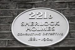 Sherlock Holmes Plaque (goodfella2459) Tags: street white black london history film plaque analog 35mm john arthur nikon baker delta literature watson 100 doyle sir holmes milf ilford f4 sherlock conan 221b