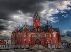 Stratford Ontario ~ Canada ~ Stratford City Hall National Historic Site of Canada (Onasill ~ Bill Badzo) Tags: stratford on ontario canada stratfordcityhall national historic site heritage civcsquaretownhall nrhp clocktower redbrick late victorian architecture style avon river perthcounty onasill attraction seat town shakespeare festival sky clouds hdr