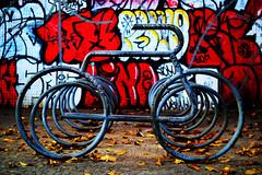 hallucination: the movement (RegiCardoso) Tags: colours veculo bike bibcleta bicicletrio bikerack coresvivas cityscape urbanism city cidade