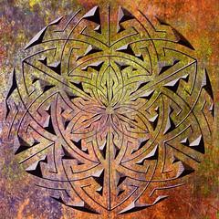 carved metal (chrisinplymouth) Tags: pattern design abstract metal rust digitalart circular cw69x geometry geometric emd