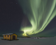 Aurora and Shed Fisheye (Jason Simpson) Tags: auroraborealis aurora canada yellowknife winter green ice northwestterritories northernlights