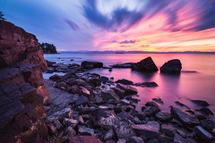 Oakledge Sunset - September 18th (Dino Sokocevic) Tags: sunset rocks beach longexposure nikon 20mm nd10 purple
