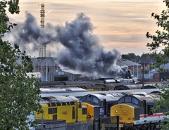 Derby Station 24th September 2016 (loose_grip_99) Tags: derby derbyshire england uk eastmidlands steam railway railroad rail train diesel engine locomotive smoke dawn class37 networkrail lms stanier 462 pacific duchess semi coronation princess 46233 duchessofsutherland gassteam uksteam trains railways yorkshirecoronation september 2016 37254 37038