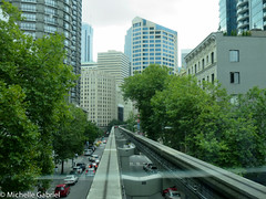 View from the front of Seattle monorail (Mic the otter spotter, going slow) Tags: seattle monorail train transport