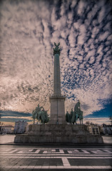 Heroes square (Vagelis Pikoulas) Tags: pest budapest hungary europe travel photography landscape city cityscape day blue square statue canon 6d tokina 1628mm view sky clouds cloud cloudy january 2016 winter