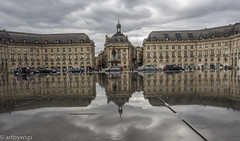 Bordeaux Reflection (Artbywigs) Tags: france travel reflection water wigs cars clouds buildings architecture mirror