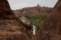 View over the other monuments of Badami (Scalino) Tags: india karnataka travel trip badami temple heritage site chalukyas chalukya cavetemple cave mosque cliff red rock