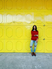 I love bright colors especially red and yellow. Yellow People Standing Red Vscocam Allhailsymmetry (adrian reza) Tags: yellow people standing red vscocam allhailsymmetry