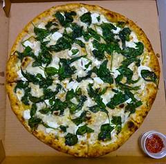 White Pie from Long Bridge Pizza in San Francisco (Fuzzy Traveler) Tags: sanfrancisco restaurant pizza garlic oliveoil parmesan spinach mozzarella dogpatch longbridgepizza