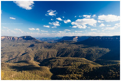 Blue Mountains National Park (4th Life Photography) Tags: park travel blue sky panorama cloud mountains nature sunshine weather forest landscape bush rocks wind windy sunny australia bluemountains canyon adventure gorge traveling wilderness gumtree frontier barier natoinal
