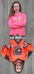 Hockey Fan. (FOTO.Michaela) Tags: life pink our winter orange brown hockey smile lady hair fun person one team nikon republic czech you know live or young down dont jacket unknown reality lives cz february upside cr whom hollister 2015 pleas photoshopn albrechtice velk d3100