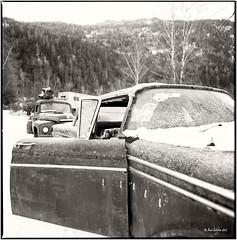 Edsel Ranger 1959_Hasselblad (ksadjina) Tags: winter ford 6x6 film analog austria blackwhite scan oldtimer rotten rodinal tyrol hasselblad500cm silverfast 6min kodak100tmax nikonsupercoolscan9000ed carlzeissdistagon40mmf14 edselranger1959