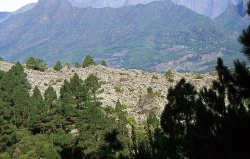 Blick von der Ruta de los Volcanos zur Caldera