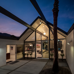 Desert Eichler (Chimay Bleue) Tags: modern night oakland design dusk interior modernism courtyard palm springs claude properties midcentury eichler kud kudlac
