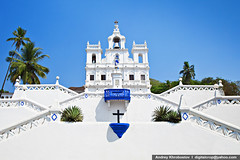 Our Lady of the Immaculate Conception Church (digitalcrop) Tags: old travel blue our india white building tourism portugal church beautiful saint wall architecture lady facade temple asia day exterior place cross cathedral bell basilica balcony indian traditional famous capital religion jesus colonial goa culture style chapel landmark palm christian unesco holy national christianity spirituality portuguese panjim conception immaculate panaji