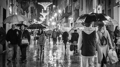 Las Ramblas 2 mono (Mariasme) Tags: barcelona street blackandwhite wet monochrome rain weather spain lasramblas umbrellas matchpointwinner 15challengeswinner friendlychallenges t427
