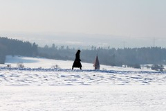 woman and steeple (Wackelaugen) Tags: winter people woman snow church silhouette canon germany walking landscape person photography eos photo europe walk steeple spire explore googlies explored wackelaugen