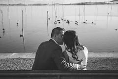 Lovebirds (rekre89) Tags: wedding blackandwhite sun lake love water switzerland kiss couple ducks weddingphotography pfffikersee canoneos6d