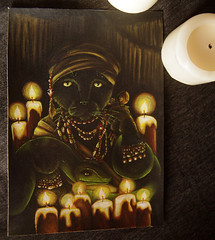 Voodoo Priestess Cat Painting (TaraFly) Tags: blackcat originalpainting acrylicpainting witchdoctor catportrait catart blackmagic catpainting catartist voodoopriestess tarafly fantasycatart