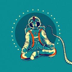Space Meditation (ikoneo) Tags: selfportrait yoga illustration stars meditate space astronaut zen yogi meditation om shanti namaste