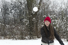 Incoming (Brian A Blakely) Tags: wood winter red white snow playing forest ball woods play snowball snowing