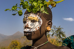 surma. Ethiopia (courregesg) Tags: africa travel portrait people colors beauty traditional culture folklore tribal omovalley ethiopia tribe ethnic bodyart civilisation gens ethnology tribu omo eastafrica ethnie ethnographie