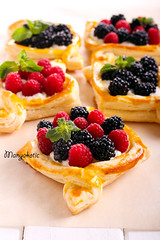 Puff pastry cakes with cream filling (manyakotic) Tags: bake bakery berry blackberry breakfast brunch bun cakes cheese cream dessert filling fruit homemade many mix pastry pie puff raspberry snack sweet treat