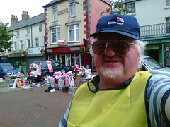 Selfie, collecting for the RNLI (Marty's White Suit) Tags: exteriors holywell selfportrait selfie sexymen men menover40 meninglasses