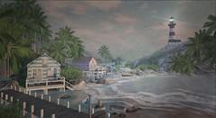 Kokomo Beach Resort (Tripp Nitely) Tags: lighthouse beach landscape scenic secondlife tropical beachhuts slarchitecture kokomobeachresort
