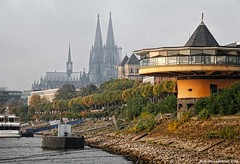 Bank of the River Rhine with a view of the Cologne Cathedral (PhotosToArtByMike) Tags: colognegermany rhineriver cologne germany dom koln klnerdom oldtown oldquarterofcologne europe